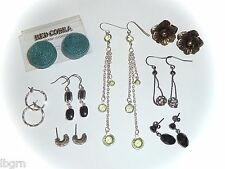 LOT of 8 PAIRS of PIERCED EARRINGS - GLITTERBALL/DANGLES/STUDS/FLORAL/RATTAN