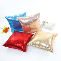 40*40cm Glitter Sequin Waist Throw Pillow Cases Solid Color Cushion Cover Home D