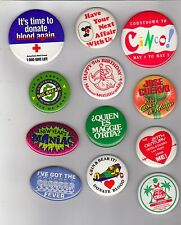Miscellaneous pin back buttons - 12 pieces - Larger Buttons - Advertising +