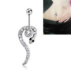 Cute Snake Reptile Crystal Belly Bar Drop Piercing Button Ring Reverse Navel Bar