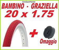Copertone 20 X 1.75 BIANCO - ROSSO  bici GRAZIELLA / BAMBINO + CAMERA D'ARIA