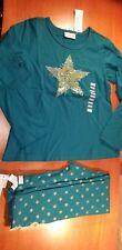 NEW Naartjie Green Glitter Star Top & Leggings Sz 7