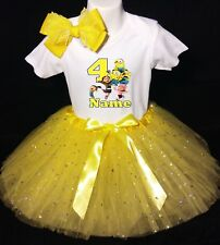 Minions -With NAME-4th Birthday Dress shirt 2pc Yellow Tutu outfit Despicable Me