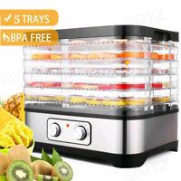 5 Stackable Trays Electric Food Dehydrator Machine Fruit Dryer Beef Meat Dryer!