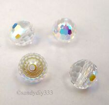 6x SWAROVSKI # 5003 CLEAR CRYSTAL AB 6mm DISCO BALL ROUND CRYSTAL BEAD