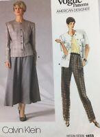 1990's Vogue Jacket, Skirt & Pants Pattern 1859 Sz 12 Calvin Klein Factory Fold
