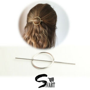 POPULAR Minimalist Women Hair Stick Slide Accessories Circle Ring Brass SILVER