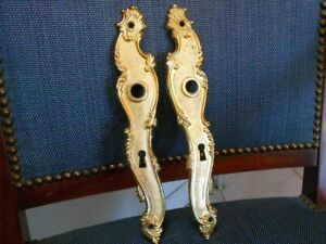 Pair Vintage brass FRENCH  FINGER PUSH PLATES