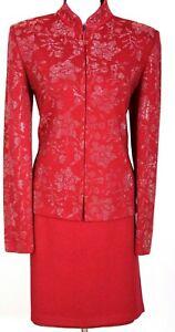 ST.JOHN Evening Womens Suit Red Studs Shimmer Rhinestone NWT Jacket Skirt Sz 10