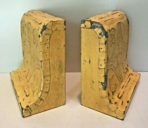 VINTAGE PRIMATIVE HAND MADE WOODEN / GALVANIZED METAL BOOKENDS HAND PAINTED
