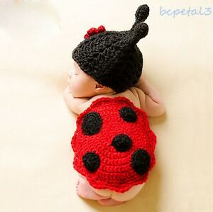 Newborn Baby Crochet Knit Ladybug Costume Hat+Pad Cover Photography Prop Outfits
