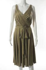 Carmen Marc Valvo Brown Zip Up Sleeveless V Neck Shift Dress Size 10
