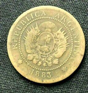 1883 Argentina 1 Centavo Coin F      Bronze World Coin     #K1478