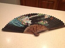 Ladies Folding Hand Fan Handpainted Wood & Paper Asian Lady Floral Design NICE