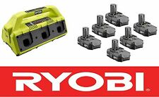 RYOBI ONE PLUS 18V VOLT 6 PORT SUPER CHARGER P135 + (6) LITHIUM BATTERIES P102