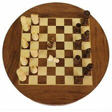 "Round Wooden Chess Set with Drawers - Hand Crafted - 30cm Board (12"" Diameter)"