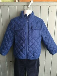 Boys Blue Fleece Lined Quilted Jacket - 3 Years - Petit Bateau - Excellent Condi
