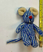 small blue and white stripped mouse with red nose plush