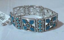 NWT Brighton Nepal Silver Plated Swarovski Turquoise Chain Link Bracelet JB4702