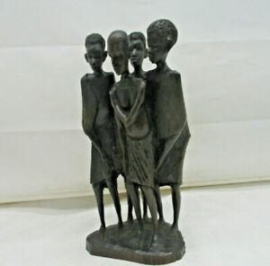 """Afrikanische Holzfigur Skulptur """"4 Stammes Mitglieder Gruppe"""" Handarbeit - 24 cm"""