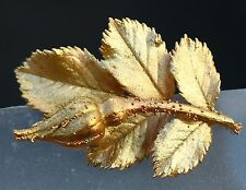Wild rose dipped in Gold tone great quality  BROOCH