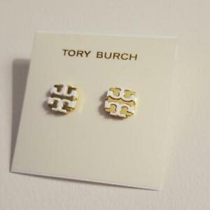 TORY BURCH WHITE ENAMEL STUD EARRINGS