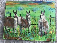 pair of goat and lama Original Folk Art Painting by Maine Artist Ken Oberholtzer