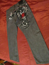 ARTFUL DODGER MENS 38 X 32  EMBROIDERED DENIM JEANS RELAXED STRAIGHT LEG