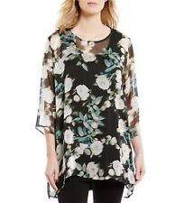 Bryn Walker Large 100%Silk AIDA Tunic Floral Multi Color Easy Fit MSRP $248