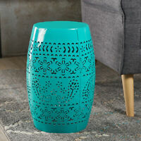 Apple Valley Modern Floral Lace Cut Iron Drum Shaped Accent Table