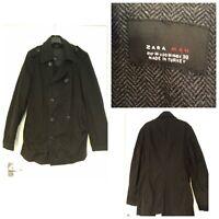 Zara Man Black Coat Size M Medium (387)