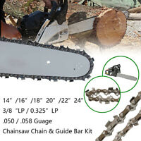 "14/16/18/20/22/24"" Chainsaw Chain/Guide Bar/Kit .325"" 3/8""Pitch .050"" .058""Guage"