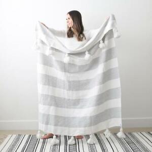 New Woven Nook Fez in Grey Pom Pom Blanket $65