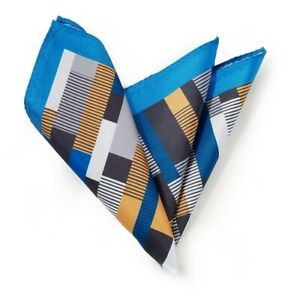 Silk Blend Pocket Square - Geometric Turquoise Blue & Tan Design 11.5in