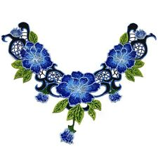 Retro Garment Accessories Colored Flowers Embroidered Lace Collar Decor Blue