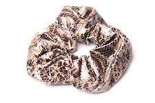 Faux Leather Leopard Scrunchie In Beige&Black Gold Tone Glitters Hair Band(S604)