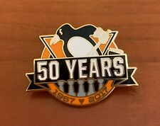 PITTSBURGH PENGUINS PIN 50TH ANNIVERSARY 5 TIME TROPHY CHAMPIONS
