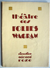 PROGRAMME THEATRE FOLIES WAGRAM LA FOIRE D'EMPOIGNE DORNY SIM VIVA JULLIEN TOTO