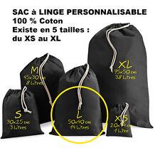SAC à LINGE NOIR a personnaliser crèche vetements enfants Taille L Modèle Grand