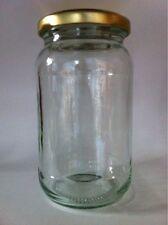 80  X  16oz  (1lb)  ROUND GLASS JAM JAR  & GOLD LIDS -  NEW JAM JARS