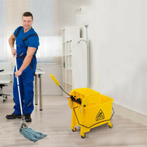 5 Gallon Commercial Mini Mop Bucket with Wringer Combo Cleaning Cart Wringer 20L