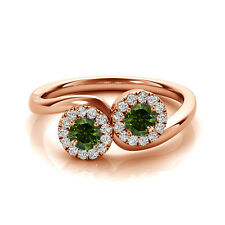 Solitaire Engagement Ring 14k Rose Gold 1.24 Cts Green Vs2-Si1 2 Stone Diamond