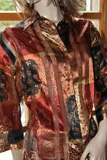 Glanz Bluse Polyester bronze gold weinrot WALBUSCH seidig nw 46