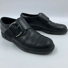 Ecco Womens 10 Black Leather Loafers Munk Strap Buckle Comfort Slip On **READ