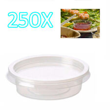 250x 2oz Clear Plastic Containers Tubs with Separate Lids Food Safe Takeaway