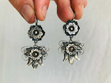 Mazahua Squash Blossom Earrings. Sterling Silver. Mexico. Frida Kahlo