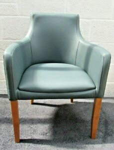 Repton Grey / Blue Faux Leather Arm / Dining Chair with oak frame