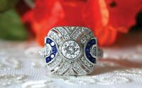 Vintage Art Deco Engagement Ring 1.9ct Round Cut Diamond 14k White Gold Over