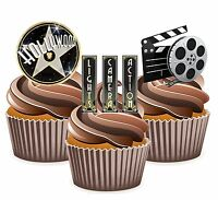 PRECUT Hollywood Lights Camera Action 12 Edible Cupcake Toppers Party Decoration