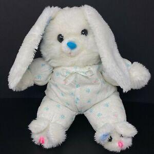 Vintage Cuddle Wit White Blue Rabbit Plush Bunny Slippers Floral PJ Sleeper Baby